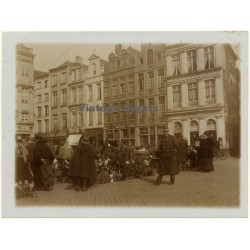 Bruxelles: Grand Place Guild Houses / Market - Police (Vintage Photo ~1900s)