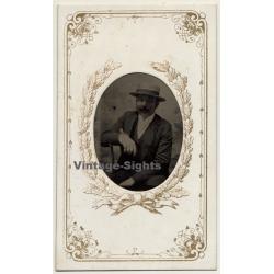 Portrait Of Man With Hat &  Moustache  (Vintage Ferrotype Photo ~1890s/1900s)
