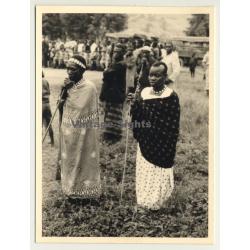 Congo - Belge: 2 Native Women In Ceremonial Dress / Tribal (Vintage Photo ~1950s)