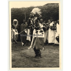Congo - Belge: Tribal Warrior In Ceremonial Dress / Dance (Vintage Photo ~1950s)