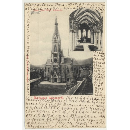 Köszegröl / Hungary: Temple Of The Sacred Heart Of Jesus (Vintage Postcard 1902)