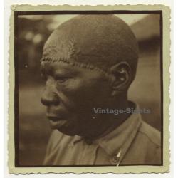 Congo: Portrait Of Indigenous Man With Facial Scarifications (Vintage Photo ~ 1930s)
