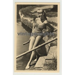 Ponytailed Blonde Beach Bunny In Monokini / Pin-Up (Vintage Photo Postcard: GDR 1959)