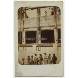 South America: Workers On Construction Site (Vintage RPPC Sepia ~1910s)
