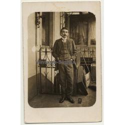 Belgian Dandy Boy Marcel Dandois / Art Nouveau - Pipe (Vintage RPPC ~1910s)