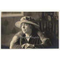 Young Woman With Lace Hat & Fur Stola (Vintage RPPC Gevaert ~1910s/1920s)