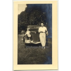 Congo Belge: Family In Front Of Ford 48 Coupe *2 (Vintage RPPC ~1930s)