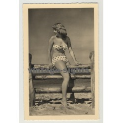Young Woman On Wood Fence / Pin-Up - Polka Dotted Bikini (Vintage Photo Postcard: GDR 1958)