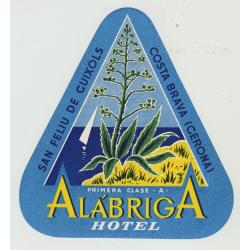 Alábriga Hotel - San Feliu De Cuixols / Spain (Vintage Luggage Label)