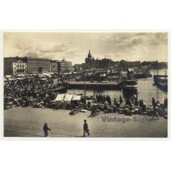 Helsinki / Finland: Kauppatori - Market - Port (Vintage RPPC Gelatin Silver)