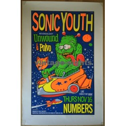 Sonic Youth, Unwound & Polvo (Vintage Concert Silk Screen Print 1995 1.ED / Uncle Charlie)