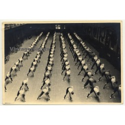 Large Group Of Pupils Doing Gymnastic Excercises / Belgium? (Vintage Photo ~1920s/1930s)