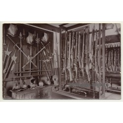 Gun Shop Exhibition: Swords, Armors & Pistols (Vintage RPPC Sepia ~1910s/1920s)