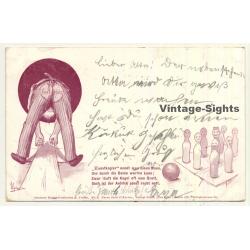 Kegeln / Bowling: Kunstkegler - Art Bowler (Vintage Funny Postcard 1898)
