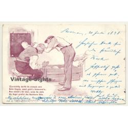 Kegeln / Bowling: Deutsche Kegler-Postkarten Nr. 7 (Vintage Funny Postcard 1898)