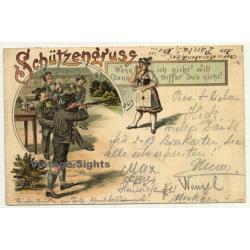 Schützengruss / Sagittarius Greeting (Vintage Postcard Litho ~1890s/1900s)