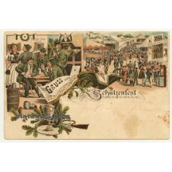 Gruss Vom Schützenfest - Rifle Festival / Burger Bräu (Vintage Postcard Litho 1898)