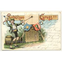Schützen Gruss / Greeting From Rifleman (Vintage Postcard Litho 1909)