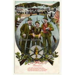 Schützengruss / Greeting From Rifleman (Vintage Postcard Litho 1907)