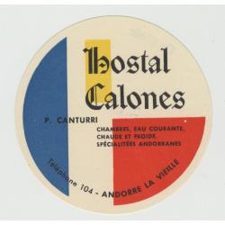 Hostal Calones - La Vieja / Andorra (Vintage Luggage Label)