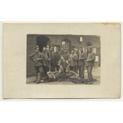 German Soldiers In The Barrack Yard / Accordion  (Vintage RPPC...