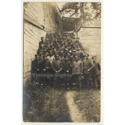 German Soldiers On Stairs Behind Barracks (Vintage RPPC ~...
