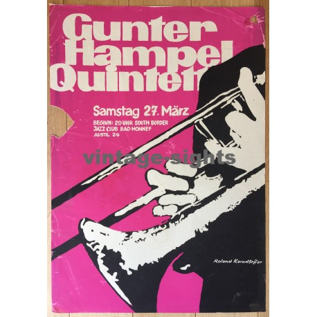 Gunter Hampel Quintett / South Border Jazz Club (Vintage Silk Screen Print: Korndörffer)