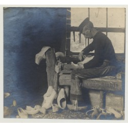 Belgian Wooden Shoemaker At Work / Clogs - Klumpen (Vintage...