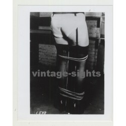 Rear View Of Bondaged Woman / Suspenders - Stockings - BDSM (Vintage Amateur Photo)