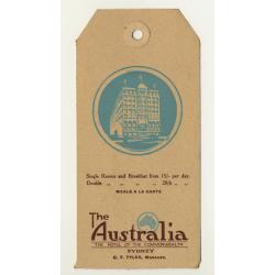 The Australia Hotel - Sydney / Australia (Vintage Luggage Tag)