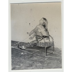 Blonde Beauty Tied On 60s Cantilever Chair / Lingerie - BDSM - 60s Interior (Vintage Amateur Photo)