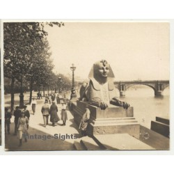 London / UK: Sphinx - Thames Embankment (Vintage Photo Sepia...