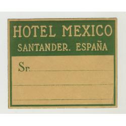 Hotel Mexico - Santander / Spain (Vintage Luggage Label)