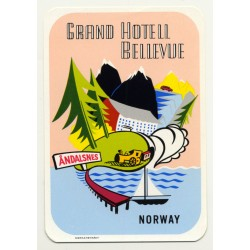 Andalsnes / Norway: Grand Hotel Bellevue (Vintage Luggage Label)
