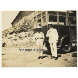 Matadi / Congo-Belge: Colonial Officer & Friend In Front Truck...