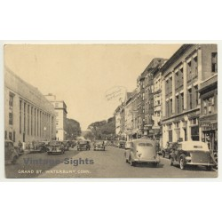 Waterbury, Conneticut / USA: Grand St. (Vintage Postcard ~1940s)