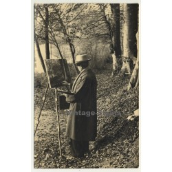 Painter With Easel In Forest (Vintage RPPC Belgium ~1930s/1940s)