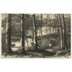 Stroller In Forest / Trees (Vintage RPPC Belgium ~1930s/1940s)