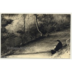 Old Woman Rests On Forest Path / Trees (Vintage RPPC Belgium...
