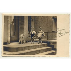 Baby Boy & Girl With Fox Terrier (Vintage Greet RPPC 1938)