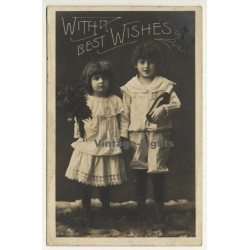 Little Girl & Boy - With Best Wishes (Vintage Greet RPPC 1906)