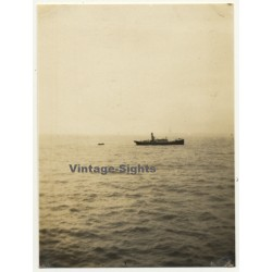 copy of Lisbon: Port Pilot In Dinghy On His Way To S.S....