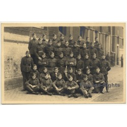 Large Group Of Young Belgian Soldiers / WW1 (Vintage RPPC ~1910s)