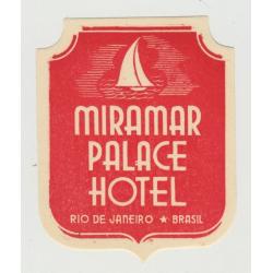Miramar Palace Hotel - Rio de Janeiro / Brasil (Vintage Luggage Label)