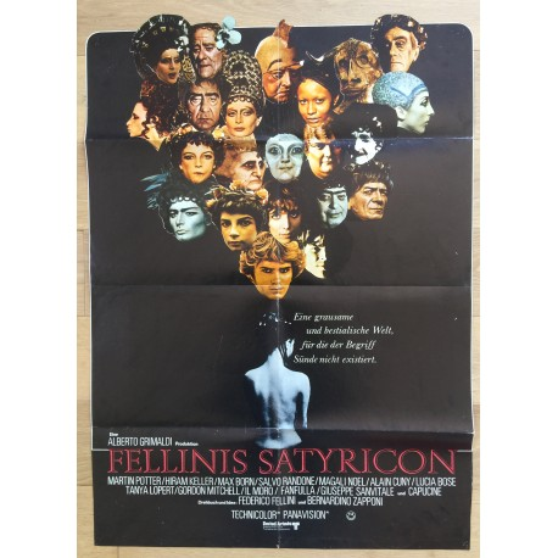 Fellini Satyricon - Original Vintage German Movie Poster 1969 (Rare Die-Cut)