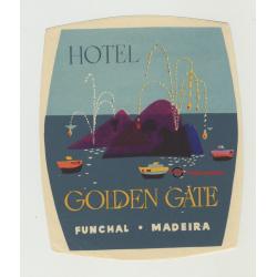 Hotel Golden Gate - Funchal - Madeira / Portugal (Vintage Luggage Label)