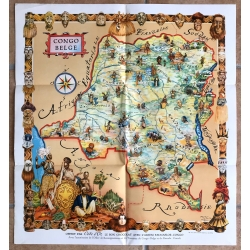Vintage Map Of Congo Belge / James Thiriar (Cote d'Or / Office...