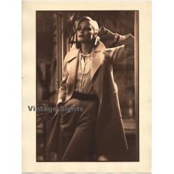 Elegant Woman In Wool Coat / Marlene Dietrich - Cigarette...