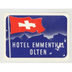 Hotel Emmenthal - Olten / Switzerland (Vintage Luggage Label)