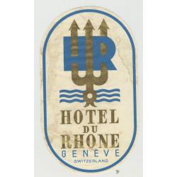 Hotel Du Rhone - Genève / Switzerland (Vintage Luggage Label - Large)